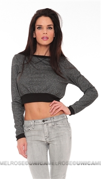 Vintage Havana Charcoal Long Sleeve Crop Top