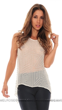 Parker White Beaded Caroline Top