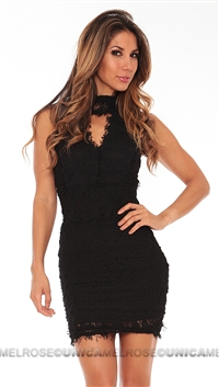 Nightcap Black Florence Laced Sleeveless Mini Dress