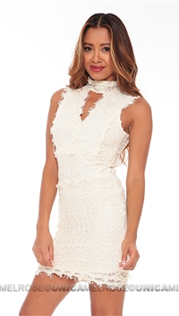 Nightcap Ivory Florence Laced Sleeveless Mini Dress