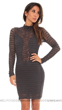 Nightcap Pewter Grey Lace Long Sleeve Short Dress