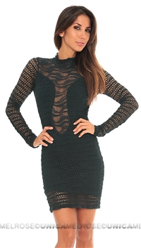 Nightcap Jade green   Lace Long Sleeve Short Dress