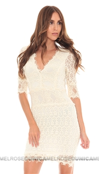 NightCap Ivory Florence Lace 3/4 Sleeve Dress