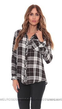 Rails Charcoal And White Hunter Rayon Button Down
