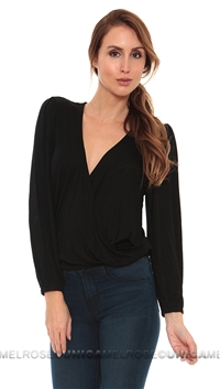 Lovers + Friends Black Wrap Top