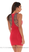 Sky Red Dounia Mini Dress With Crystals