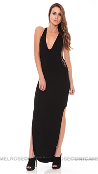 Indah a La Mode Black Atlantic Solid Maxi