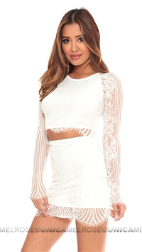 For Love & Lemons White Lace armed crop top