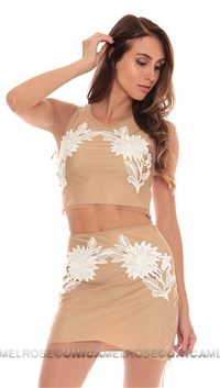 For Love & Lemons Nude Balmy Nights Crop Top