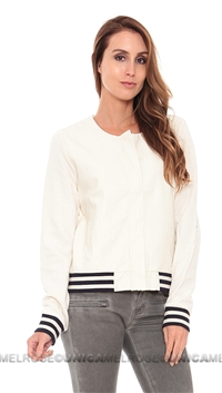 Townsen White Perforated Baseball Jacket