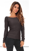 Savee Couture Grey Lace Up With Puffy Sleeves Back Open Top