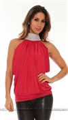 Savee Couture Red Choker Blouse