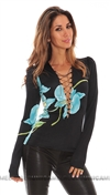 Savee Couture Blue Long Sleeve Lace Up Chain Top