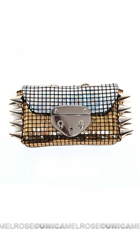 Ventidue Gold Silver Disco Irridescent Studded Convertible Clutch