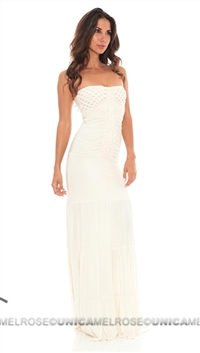 Sky Bone Lapis Strapless Long Dress