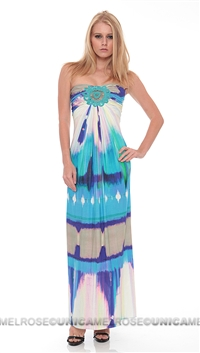 Sky Aqua Loveli Strapless Dress