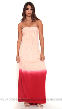 Sky Red Strapless Marenda Long Dress