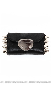 Ventidue Black Guilietta Lizard Silver Studded Convertible Clutch
