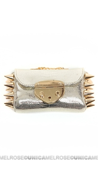 Ventidue Silver and Gold Guilietta Python Studded Convertible Clutch