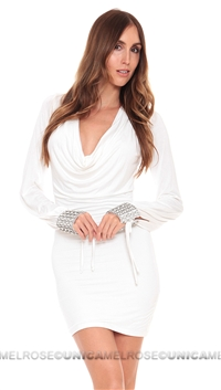 Sky White Hosanna Dress with Crystal Cuffs