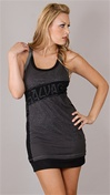Salvage Nefarious Tank Top Charcoal Dress with Studs and Sheer Back