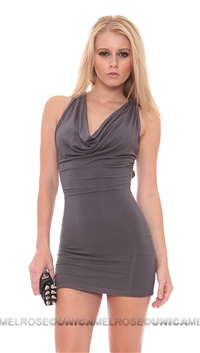 Sky Gunmetal Lepa Mini Dress With Crystals