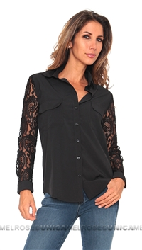 Lovers and Friends Black Boyfriend Contrast Blouse