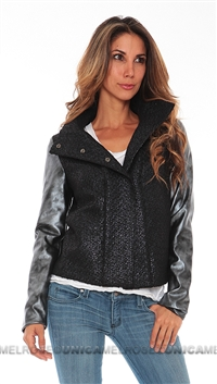 Generation Love Black Boucle Leather Mix Snap Jacket