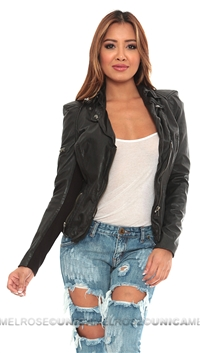 Muubaa Black Biker Zip Leather Jacket