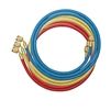 "46396 Mastercool Set Of 3-96"" Barrier Hoses W/Shut-Off Valve Fitting"