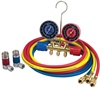 45111 Robinair R134A Automotive Side Wheel Brass Manifold Set With Enviro-Gaurd Hoses And Couplers