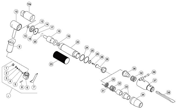 Chicago Pneumatic B16MV Needle Scaler Repair Parts