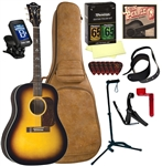Blueridge BG-160 Acoustic Guitar Soft Shoulder Sunburst Acoustic Guitar Deluxe Package Bundle Combo