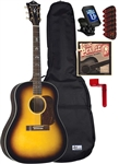 Blueridge BG-160 Acoustic Guitar Soft Shoulder Sunburst Acoustic Guitar Starter Package Bundle Combo