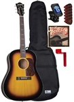 Blueridge BG-40 Soft Shoulder Acoustic Guitar Starter Package Bundle Combo