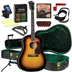 Blueridge BG-60 Soft Shoulder Acoustic Guitar Deluxe Package Bundle Combo - Sunburst