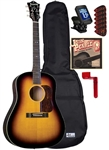 Blueridge BG-60 Soft Shoulder Acoustic Guitar Starter Package Bundle Combo - Sunburst