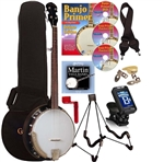 Gold Tone CC-50RP 5 String 18 Bracket Brass Tone Ring Banjo Package