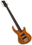 Dean Edge 1 5-String Electric Bass Guitar in Trans Amber E1 5 TAM