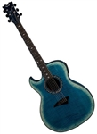 Dean Exhibition Acoustic-Electric Flame Maple Guitar with Aphex in Faded Denim Lefty