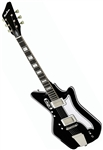 Eastwood Airline '59 2P Custom Solid Body Retro Electric Guitar w/ Deluxe Hard Case - Black
