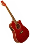Kona K1ETRD Dreadnought Cutaway Acoustic/Electric Guitar - Trans Red