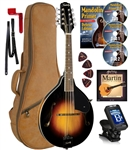 Kentucky KM-150 Standard Black A-Model All-Solid Mandolin Package A-Style Kit Combo
