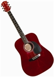 Main Street Dreadnought Acoustic Guitar in Transparent Red MA241TRD