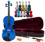 Merano MV300 Full Size Student Violin with Case and Bow - 10 Colors & Fractional Sizes 4/4-1/16