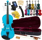 Merano MV300 Full Size Student Violin Package Bundle Starter Kit Blue, Black, Green, White, Silver, Gold, Purple, Pink 4/4-1/16