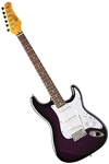 Oscar Schmidt OS-300 Purple Sunburst Solid Body Strat-Style Electric Guitar OS-300-PS