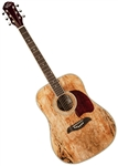Oscar Schmidt OG2SMLH Left Handed Spalted Maple Top Dreadnought Acoustic Guitar