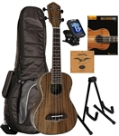 Oscar Schmidt OU5 Hawaiian Koa Concert Ukulele Package Complete Uke Starter Bundle Bag,Tuner,Book,Strings