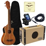 Oscar Schmidt OU5LCE Cutaway Acoustic Electric Koa Long-Neck Concert Ukulele Uke Package Amp Bundle